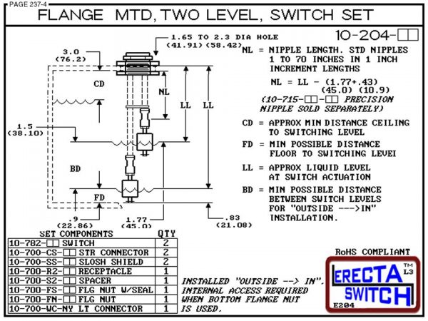 10-204-KR Flange Mounted Two Level Float Switch Set (PVDF Kynar) - OEM 10 Pack -6406