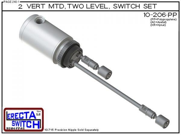 "10-206-PP 2"" NPT Relay Housing 2 Level Drum Float Switch Set (Polypropylene) - OEM 10 Pack -0"