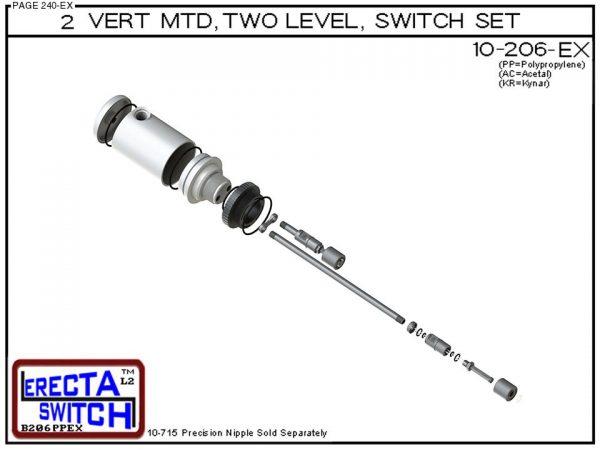 "10-206-KR 2"" NPT Relay Housing 2 Level Drum Float Switch Set (PVDF Kynar)-6432"