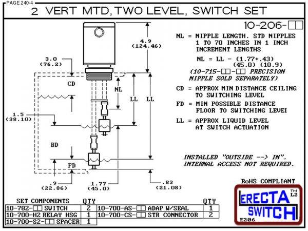"10-206-KR 2"" NPT Relay Housing 2 Level Drum Float Switch Set (PVDF Kynar)-6431"