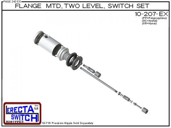 10-207-PP Flange Mounted Relay Housing 2 Level Switch Set (Polypropylene)-6446