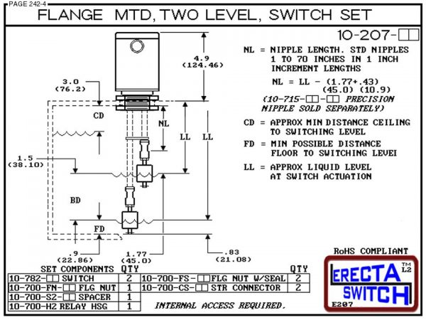 10-207-AC Flange Mounted Relay Housing 2 Level Switch Set (Acetal)-6455