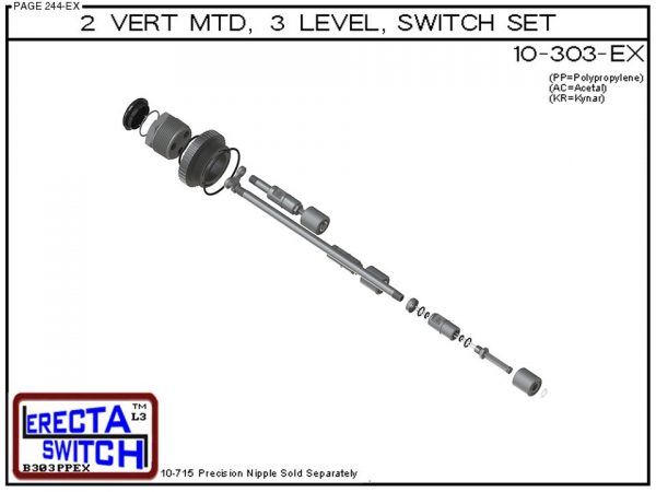 """Exploded view - 10-303-PP 2"""" NPT 3 Level Drum Float Switch Set (Polypropylene)"""