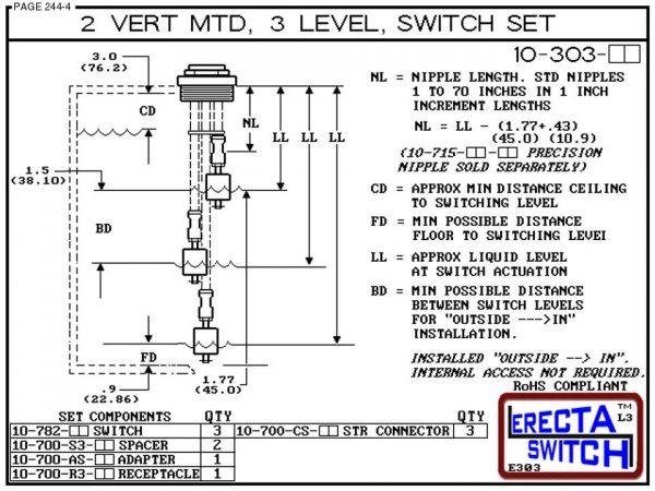 "Diagram - 10-303-PP 2"" NPT 3 Level Drum Float Switch Set (Polypropylene)"