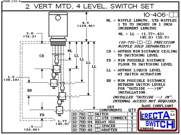 """Diagram - 10-406-KR 2"""" NPT Relay Housing Vertical Mounted Four Level extended Stem Shielded Multi Level 1-1/4"""" NPT Relay Housing featured in this multi level switch set provides a liquid tight chamber for your control relay or wire splices and a 2"""" NPT ad"""