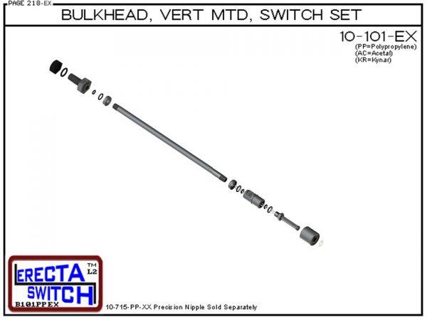 "10-101-PP 1/4"" NPT Bulk Head Vertical Mounted Level Switch Set (Polypropylene)-6060"