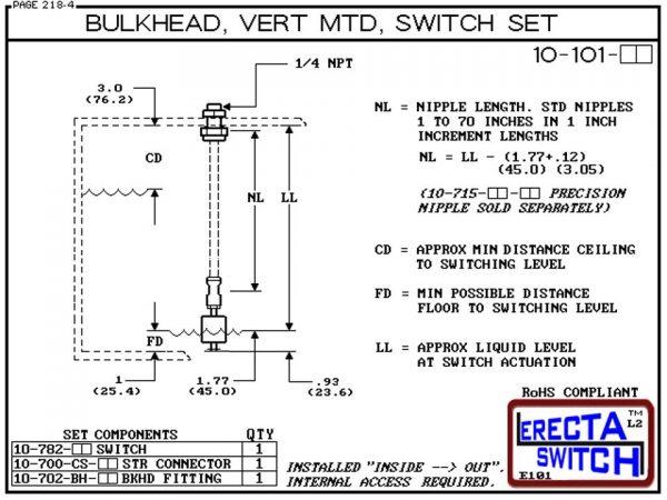 "10-101-PP 1/4"" NPT Bulk Head Vertical Mounted Level Switch Set (Polypropylene)-6061"