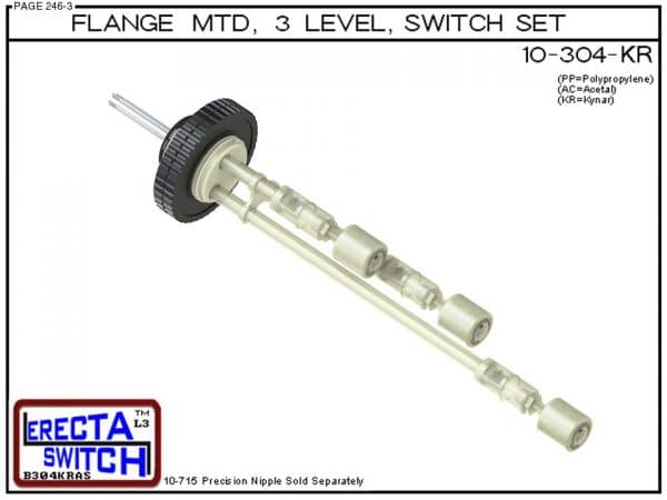 10-304-KR Flange Mounted 3 Level Switch Set (PVDF Kynar)-0