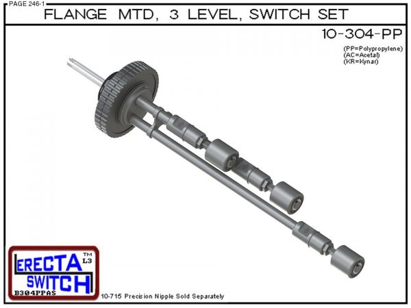 10-304-PP Flange Mounted 3 Level Switch Set (Polypropylene) - OEM 10 Pack -0