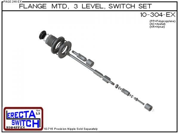10-304-PP Flange Mounted 3 Level Switch Set (Polypropylene) - OEM 10 Pack -6550