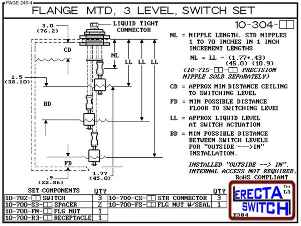 10-304-PP Flange Mounted 3 Level Switch Set (Polypropylene) - OEM 10 Pack -6551