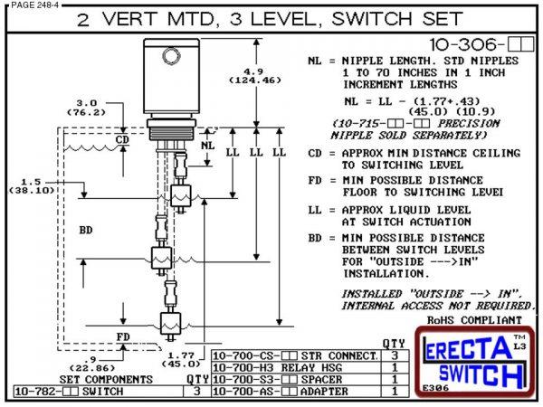 "Diagram - 10-306-KR 2"" NPT Mounted Relay Housing 3 Level Drum Float Switch Set (PVDF Kynar)"