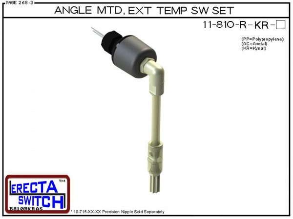 11-810-R-KR Angle Connector Mounted Receptacle Extended Temperature Probe / Bimetal Temperature Switch Set (PVDF Kynar) - OEM 10 Pack -0