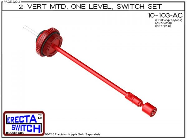 """10-103-AC 2"""" NPT Vertical Mounted One Level Extended Stem Level Switch Set (Acetal)-0"""