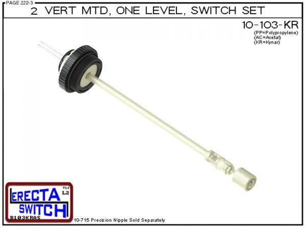 "10-103-KR 2"" NPT Vertical Mounted One Level Extended Stem Level Switch Set (PVDF Kynar)-0"