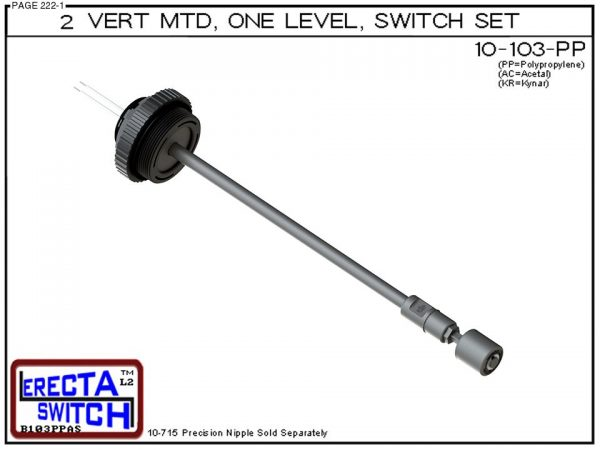 "10-103-PP 2"" NPT Vertical Mounted One Level Extended Stem Level Switch Set (Polypropylene)-0"