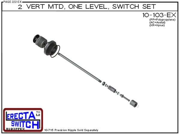 "10-103-KR 2"" NPT Vertical Mounted One Level Extended Stem Level Switch Set (PVDF Kynar) - OEM 10 Pack -6162"