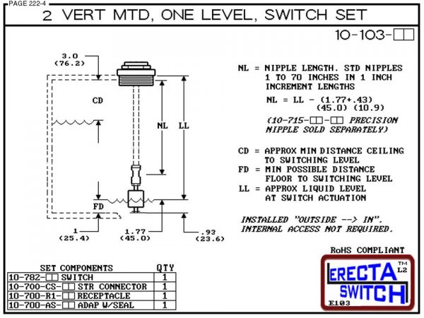 """10-103-AC 2"""" NPT Vertical Mounted One Level Extended Stem Level Switch Set (Acetal)-6147"""