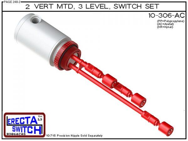 "10-306-AC 2"" NPT Mounted Relay Housing 3 Level Drum Float Switch Set (Acetal)"